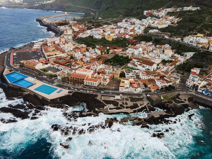Aerial view on garachico, in tenerife, canary islands, spain