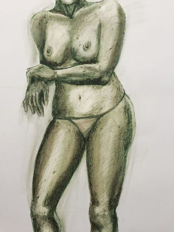 Oil Pastel Pastel Colors Drawing Copia Copia Dal Vero Nudo Donna Liceoartistico Verde Green Woman Disegnare