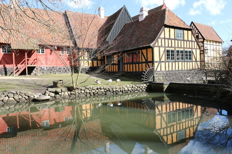 Den Gamle By Architecture Building Exterior Built Structure Danish Danish Design Day Den Gamle By Denmark Frame House Half-timbered Houses House No People Outdoors Reflection Sky Sky And Clouds Studwork Travel Water Water Reflections Århus Århus, Denmark