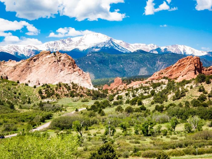 Red Rocks Park Colorado Springs CO USA Hiking Trail Mountain Beauty In Nature Scenics - Nature Sky Cloud - Sky Tranquil Scene Plant Tranquility Landscape Non-urban Scene Nature Mountain Range Snowcapped Mountain