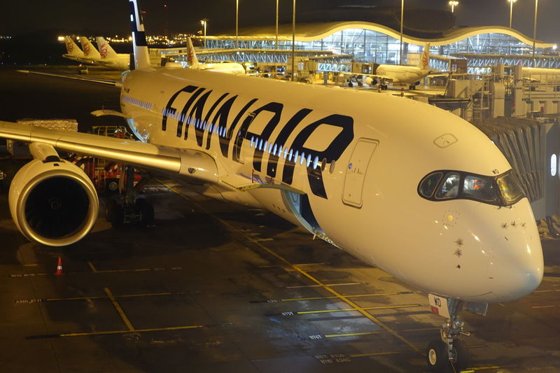 Finnair Aeroplane Aircraft Finnair Flight Night No People Outdoors Plant Transportation
