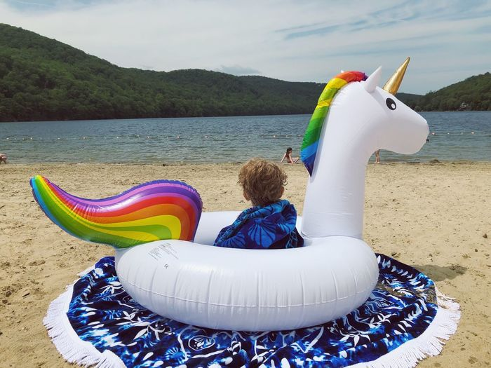 Unicorn Beach Day Unicorn Water Beach Land Representation Nature Sky Sea Multi Colored Animal Representation Day Sand Art And Craft Inflatable  Beauty In Nature Outdoors Cloud - Sky Creativity