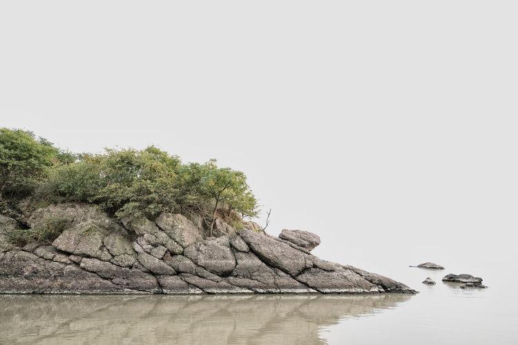 Shan shui Water Copy Space Waterfront Tree Tranquility Nature Rock Tranquil Scene Lake Zen Chinese Shan Shui