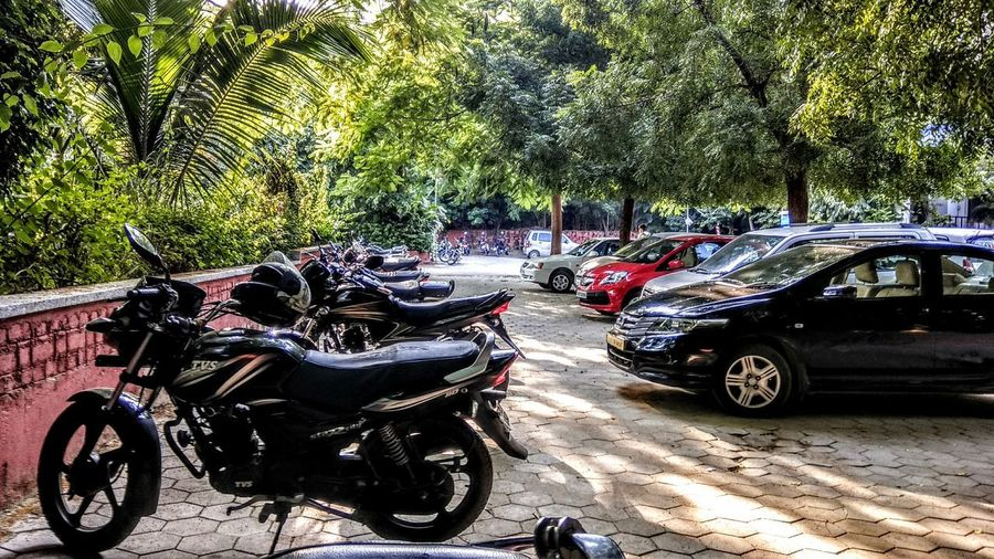 First Eyeem Photo Parking Lot Photography Bike Life Cars Trees And Sky Green Green Green!  Pacificuniversity Udaipur