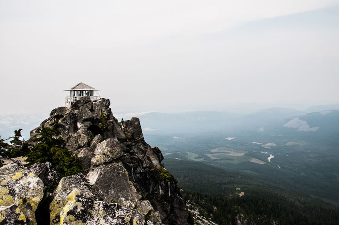 Adventure Architecture Building Exterior Built Structure Fire Lookout Tower Fog Hiking Mountain Nature Outdoors Peak Rock Rock Formation Scenics Top Travel Destinations Valley EyeEmNewHere
