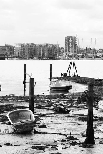 Portsmouth Harbour City Water No People Skyscraper Beach Urban Skyline Nautical Vessel Building Exterior Harbour City Bnw Black And White Collection  Black&white Travel Bnw_collection Black & White Black And White Travel Photography The Week On EyeEm Cityscape Architecture Tall Ship Moored Shipyard Black And White Friday An Eye For Travel