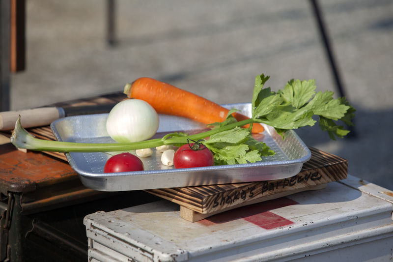 High Angle View Of Vegetables In Tray