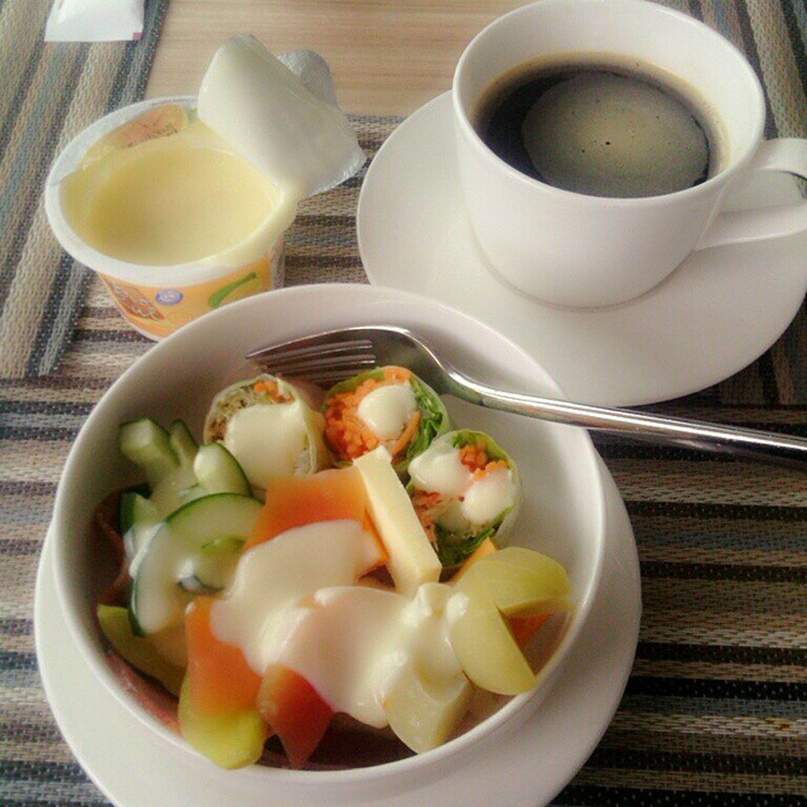 food and drink, indoors, freshness, food, healthy eating, plate, table, drink, still life, bowl, ready-to-eat, spoon, refreshment, breakfast, serving size, high angle view, meal, close-up, soup, coffee cup
