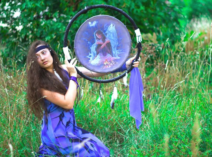 girl and dream catcher Shaman Dreamcatcher Flower Young Women Tree Beauty Women Portrait Forest Summer Females Meadow Fairy Hippie Religious Equipment North American Tribal Culture Witch EyeEmNewHere