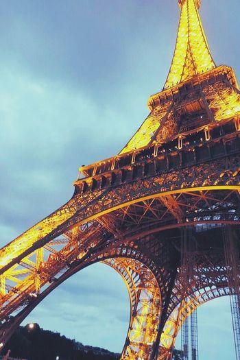 Paris Eiffeltower Europe Summer Night Light Tower City