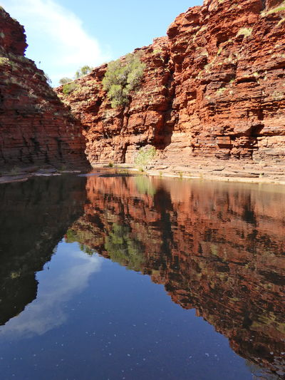 Beauty In Nature Cliff Geological Formations Geology Gondwana Country Live For The Story Nature NW Australian Landscape Physical Geography Ponds Red Layered Sandstone Reflection Rock Formation Rock Layers Sandstone Cliffs Scenics Sky The Great Outdoors - 2017 EyeEm Awards Tranquil Scene Tranquility Water