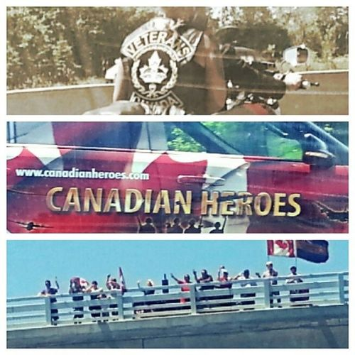 Just got to be right in the heroes highway ride. Pretty cool to see. Cfbtrenton Heroeshighwayride Canada 401 highwayofheros