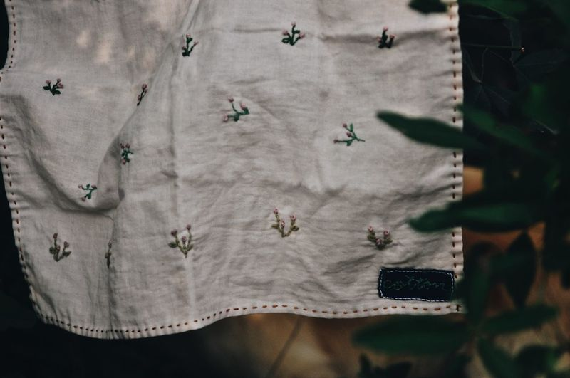 Photography Craft Textile Pattern Full Frame No People Floral Pattern Backgrounds Day Design High Angle View Close-up Clothing Hanging Casual Clothing Nature Directly Above Outdoors Bed Crumpled Wrinkled Embroidery