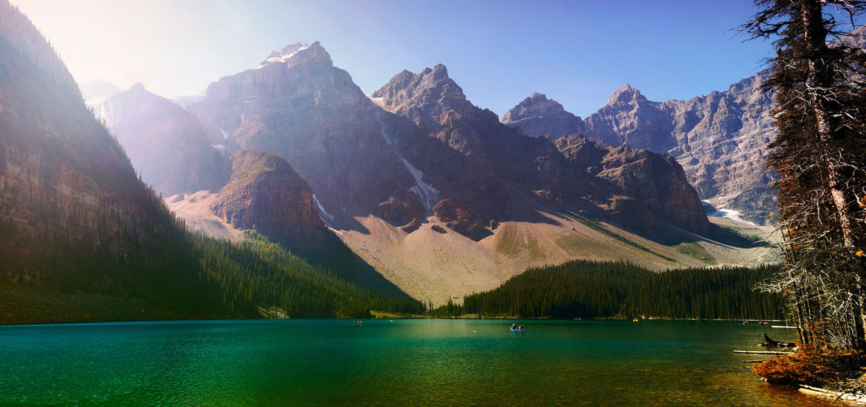 Panorama Moraine Lake (Canada) Banff National Park  Moraine Lake  Ten Peaks Beauty In Nature Canada Idyllic Lake Landscape Mountain Mountain Range Nature No People Outdoors Panoramic Peak Range Reflection Rocky Mountains Scenery Scenics Sunlight Tranquil Scene Tranquility Travel Destinations Waterfront