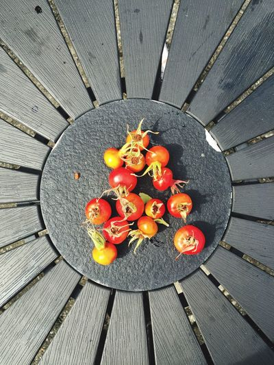 Directly Above Shot Of Tomatoes On Table