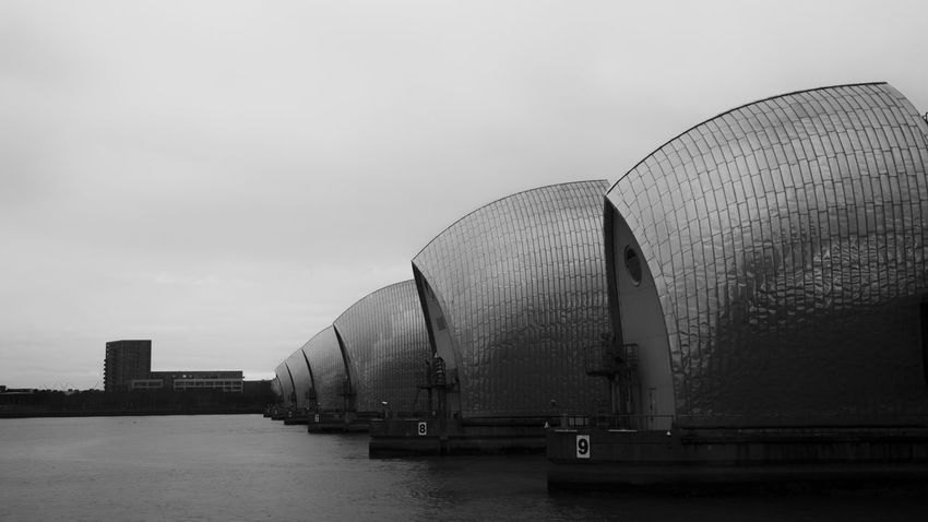 Architecture Blackandwhite Building Exterior Built Structure City Cloud - Sky Contrast Day Engineering England Europe London Modern Neighborhood Map Outdoors Thames Thames Barrier Travel Destinations United Kingdom Water