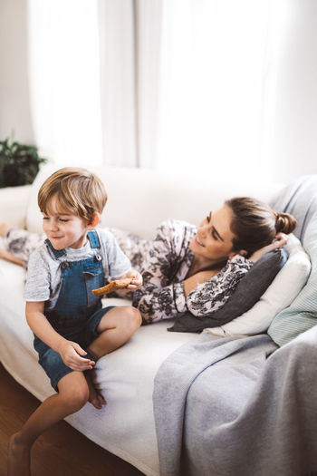 Couch Family Home Mother Quality Time Young Mom Son Toddler  Togetherness