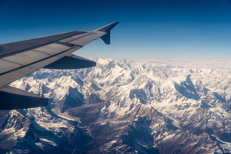 Aerial view of snowcapped mountains against sky