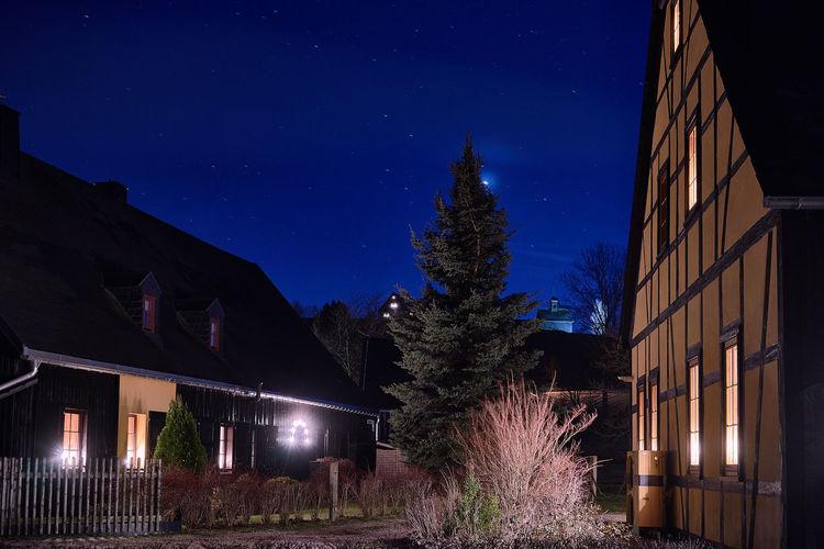 Bergbaulandschaft FG Sauschwart bei Nacht Erzgebirge Nachtfotografie SONY A7ii Architecture Astronomy Building Exterior Built Structure Christmas Galaxy Illuminated Nature Night No People Outdoors Sachsen Schneeberg Sky Star - Space Tree