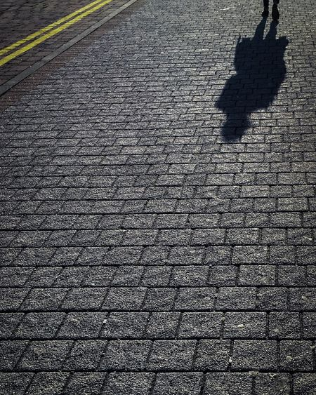 Low section of shadow on street