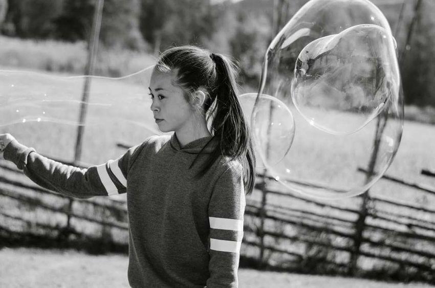 Girl Bubbles Blackandwhite Black & White Black And White Photography Enjoying Life Hello World Check This Out