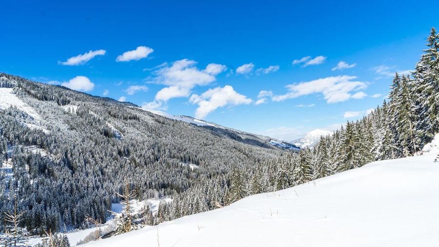 Snow covered landscape against blue sky
