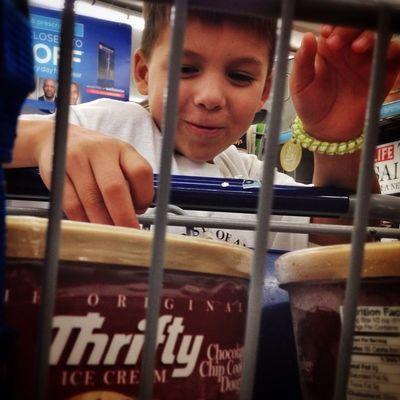 Happy shopping boy