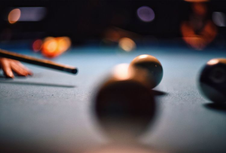 Close up of pool balls