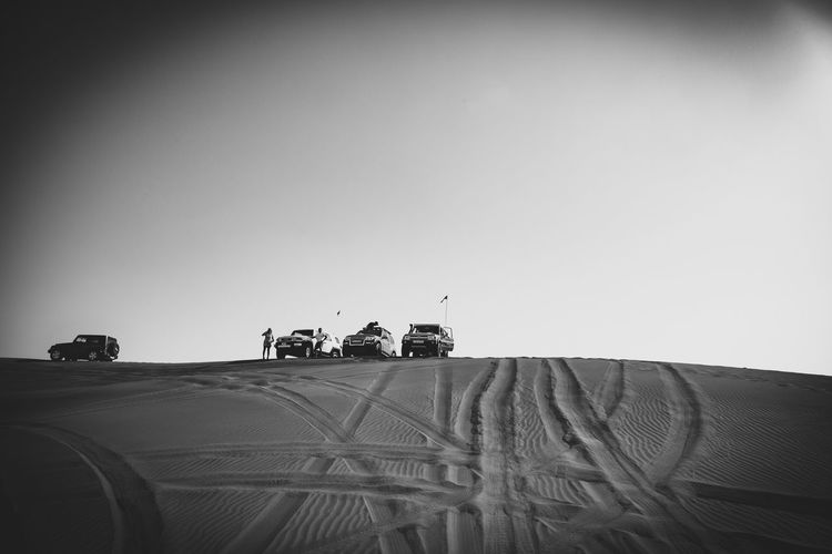 BW off road Sky Group Of People Clear Sky Copy Space Land Vehicle Real People Nature Mode Of Transportation Landscape Medium Group Of People Transportation Land Outdoors Travel Adventures In The City The Great Outdoors - 2018 EyeEm Awards