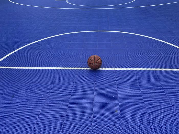 High angle view of basketball on court