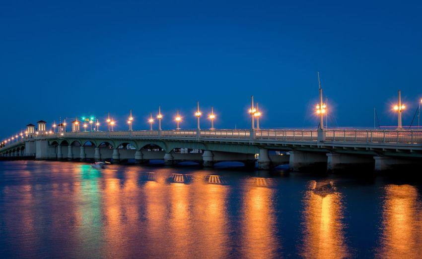 Illuminated Bridge Of Lions Over River At Night