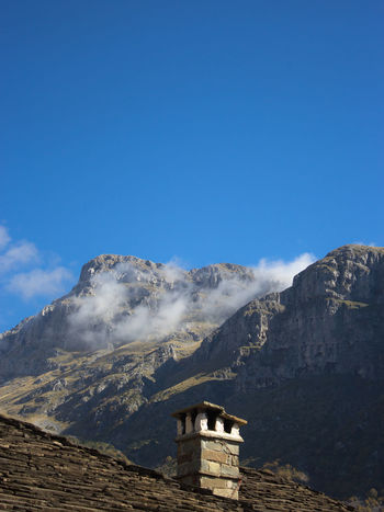 View from beautiful hotel in Papigkon at Zagorochoria. Blue Chimney Clouds Day Epirus Greece Hotel Landscape Mountain Mountains Outdoors Papigko Papigo Village, Epirus... Roof Sky Tile Tiles Vilage Zagoroxoria,greece