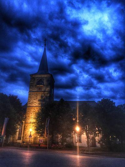 Church in Weißenstadt. Church Cloud Night Lights Night Sky Cloudy Sky Dark Light And Shadow Fichtelgebirge