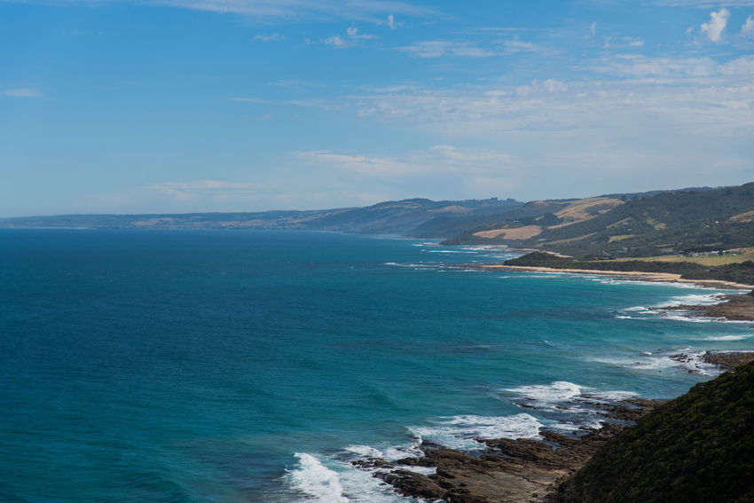 Australia, Great Ocean Road Nature Beach Beauty In Nature Blue Cloud - Sky Day Idyllic Land Mountain Nature No People Outdoors Scenics - Nature Sea Sky Tranquil Scene Tranquility Water