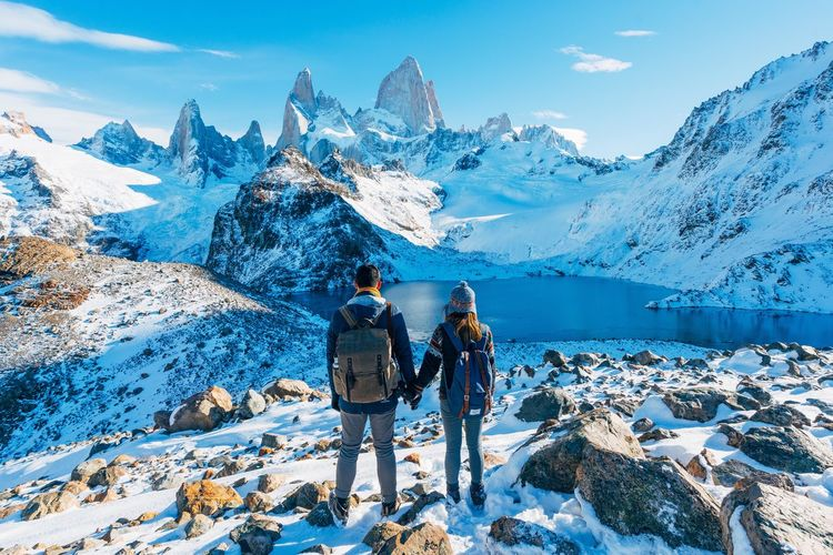 Couple Holding Hands Lost In The Landscape Argentina Glacier Holding Lake Landscape Mountain Mountain Range Patagonia Snow Torres Del Paine The Great Outdoors - 2018 EyeEm Awards The Traveler - 2018 EyeEm Awards