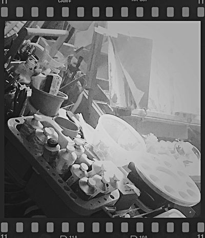 My creative space 🎨 Workspace IPhoneography B&W Photo Lifestyle Creative Spaces Studio Space Easel Painting Art Emotional Therapy