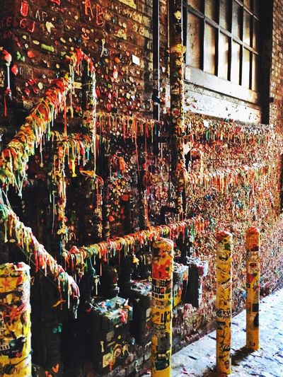 Seattle Gum Wall Post Alley Tourist Multi Colored Vibrant Color Variation Building Exterior Outdoors No People City Urban Brick Wall Gum Bright Colors Alley Window Urbanphotography Citylife Full Frame Emerald City