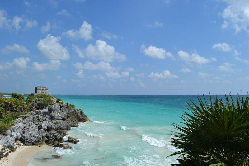Tulum Tulum , Rivera Maya. Without Filters🌄 Mexico MyloveMexico Mayan Civiliization Mayan Culture Water Sea Sky Beauty In Nature Scenics - Nature Cloud - Sky Horizon No People Outdoors Tropical Climate Blue Land Beach