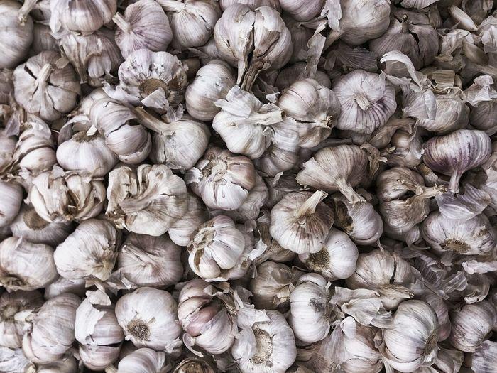 Full frame shot of garlic bulbs