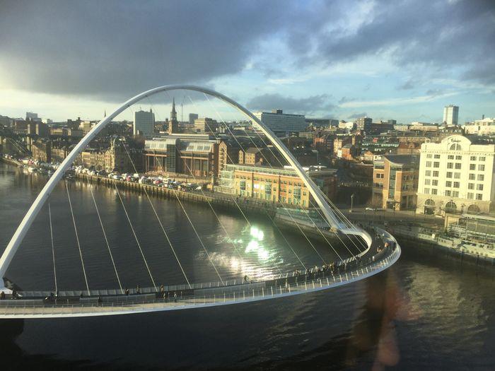 Millennium Bridge Quaysidenewcastle River Built Structure Architecture Building Exterior City Sky Transportation