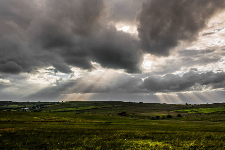 Dramatic Sky Field Storm Cloud Nature Agriculture Storm Landscape Rural Scene Beauty In Nature Weather Extreme Weather Cloud - Sky Environment Sunlight Sun No People