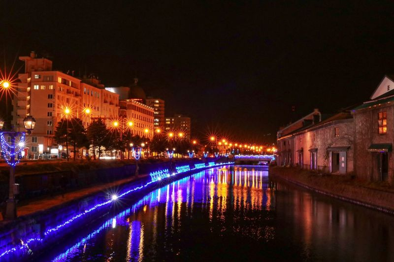 Canal Japanese Culture Copy Space Backgrounds Japan Hokkaido Nightphotography Riverside River Illuminated Night Water Architecture Building Exterior Built Structure Reflection City Building Lighting Equipment Residential District Nature Canal Waterfront Sky No People House Street