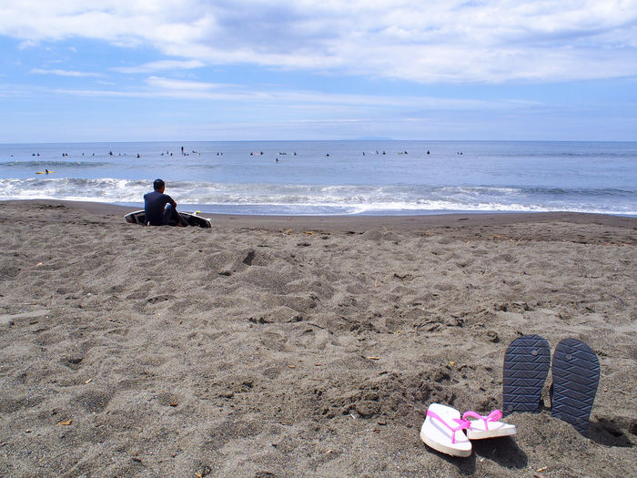 Adult Beach Beauty In Nature Day Horizon Over Water Japan Kanagawa Prefectural Government Nature One Person Outdoors People Real People Sand Sea Sky Water