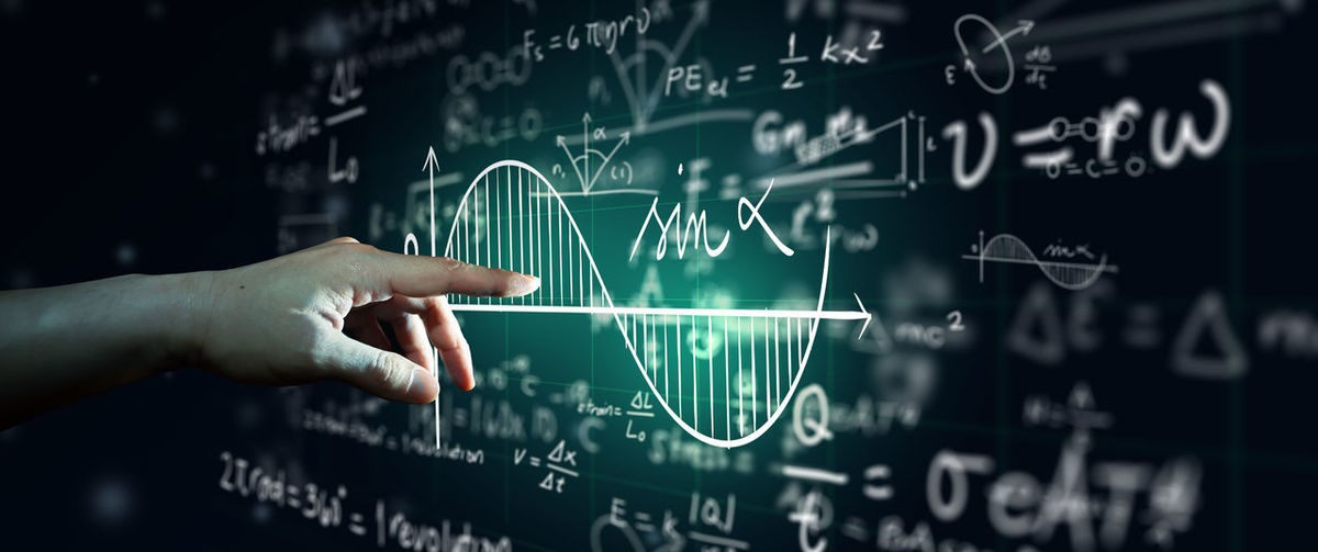 Scientific formulas, match equation, and calculations in physics abstract background.