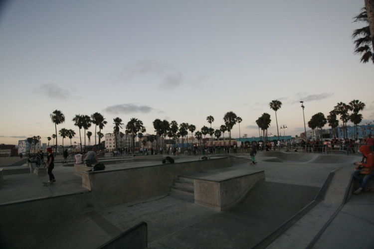 Sunset Silhouettes Venice Beach Venice, CA Palm Trees Sand Sand And Sea Sunset Venice Boardwalk Venice California Venice Skatepark