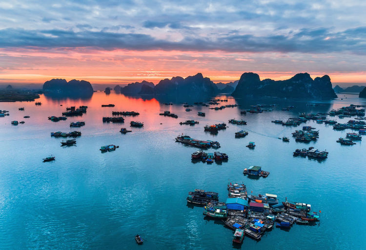Bai Tu Long Bay Drone  Ha Long City Ha Long Beach Beauty In Nature Cloud - Sky Day Drone Photography Dronephotography Ha Long Bay Nature Nautical Vessel No People Outdoors Scenics Sea Sky Sunset Water