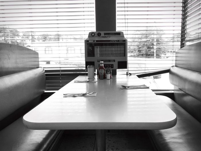 A table at the historic Bel-Loc Diner, with a splash of color. Colorsplash Food Indoors  Objects Still Life