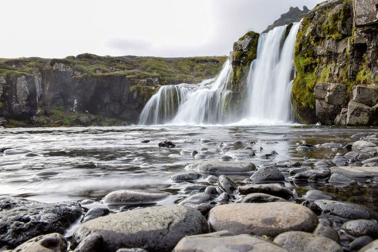Watefall, Iceland Beauty Cliff Environment Flowing Freshness Iceland Landscape Long Exposure Motion Nature No People Outdoors Power In Nature River Scenics Sky Social Issues Stream - Flowing Water Tourism Travel Travel Destinations Vacations Water Waterfall