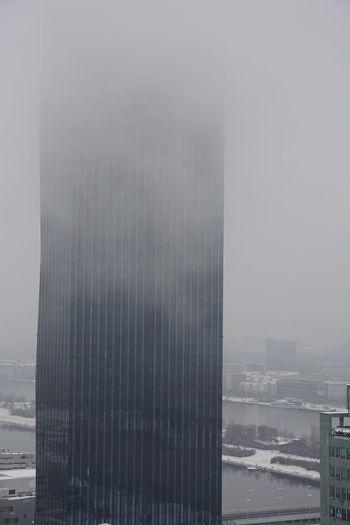DC Tower Vienna Architecture Building Exterior Built Structure City Cityscape Fog Skyscraper Snow