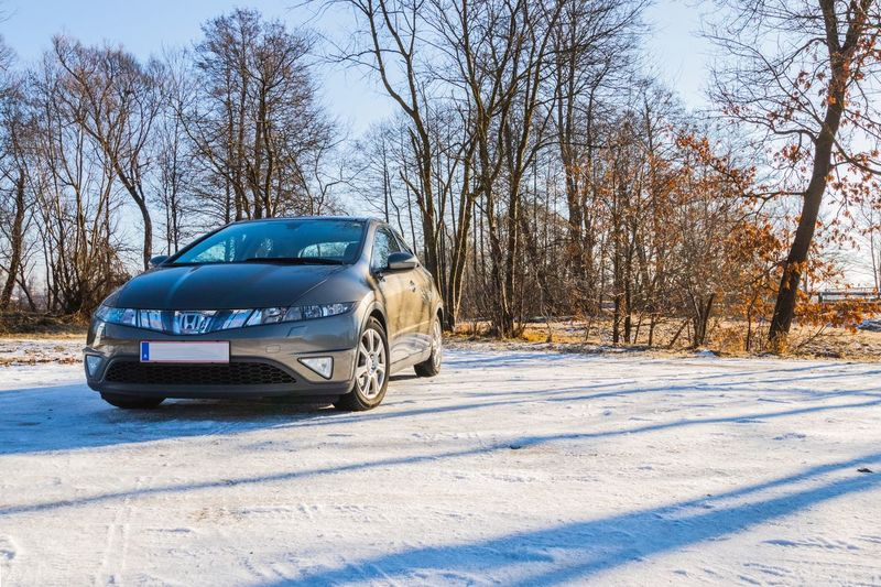 Car on snow covered landscape